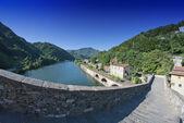 Diavoli ponte panorama fisheye, lucca — Foto Stock