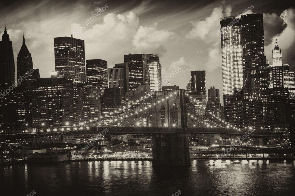 Manhattan new york city noir et blanc vue de haut for Table vue de haut