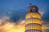 Leaning Tower of Pisa illuminated at Night — Stok fotoğraf