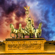 Majesty of Quadriga over Brandenburg Gate, with dramatic Sky — Stock Photo