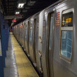 Train in subway station, photo taken in South Ferry Station on M - Stock Photo
