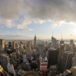 Panoramic fisheye view of Manhattan Skyline, New York City Aeria — Stock Photo