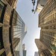 Upward fisheye view of Manhattan Tall Skyscrapers - New York Ci — Stock Photo