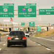 Driving on a Texas Interstate in Spring - Stock Photo