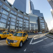 Stock Photo: NEW YORK CITY - MARCH 9: Yellow cabs stop at traffic light in Columbus Circle