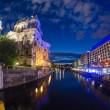 Berlin Landmarks and Buildings after sunset with river spree and — Stock Photo