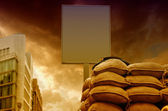 Checkpoint with blank Signboard and Sandbags — Foto de Stock