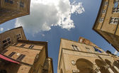Ancient square homes in a italian old town of Orcia Valley, Tuscany - Italy — Stock Photo