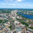 Aerial view of Boston Downtown Area - Stock Photo