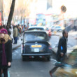 Blurred image of typical street life in London - Stock Photo