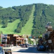 JACKSON HOLE, WYOMING - JUN 29: View of the main street with peo - Stock Photo