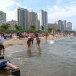 CHICAGO - JULY 3: relax on the beach of Lake Michigan on - Stock Photo