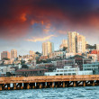 Skyline of San Francisco with Dramatic Sky - Stock Photo