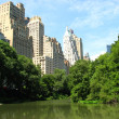 Skyscrapers of Manhattan from Central Park with Lake and Trees i — Stock Photo