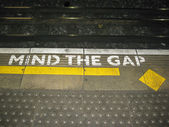 Illustration of the London underground Mind The Gap typical sign — Stock Photo