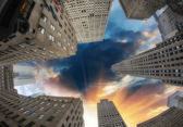 Giant Skyscrapers under a dramatic sky — Stock Photo