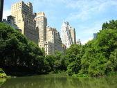 Los rascacielos de manhattan del parque central con lago y árboles — Foto de Stock