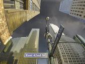нью-йорк - манхэттен небоскребы и уличные знаки — Стоковое фото