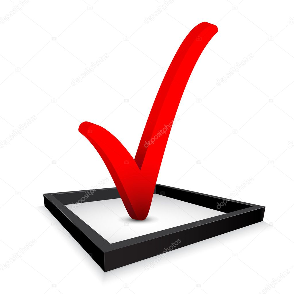 Red check mark in option box . Vector illustration — Stock Vector #11625986