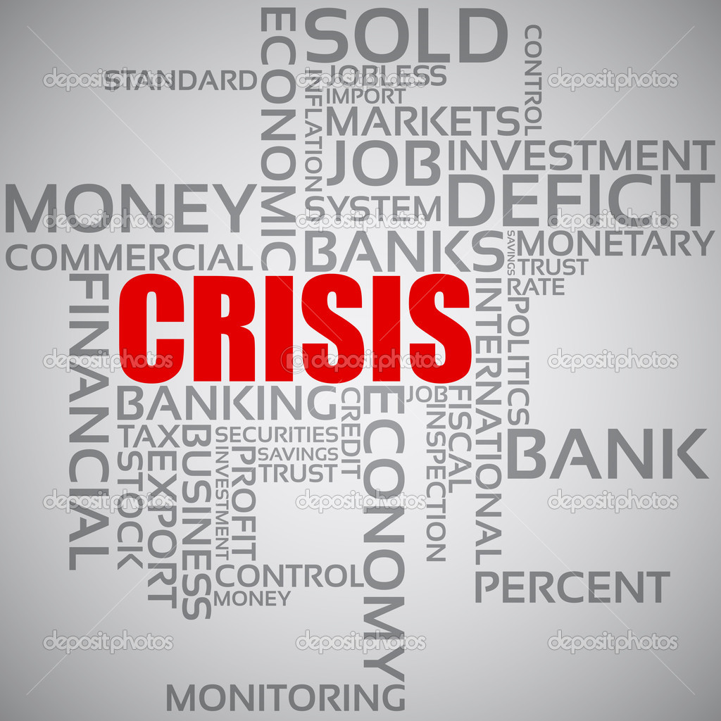 Vector illustration of the concept financial crisis with words — Stock Vector #11808620