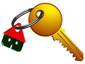 Casa y llave — Vector de stock