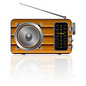 Wooden retro radio — Stock Vector