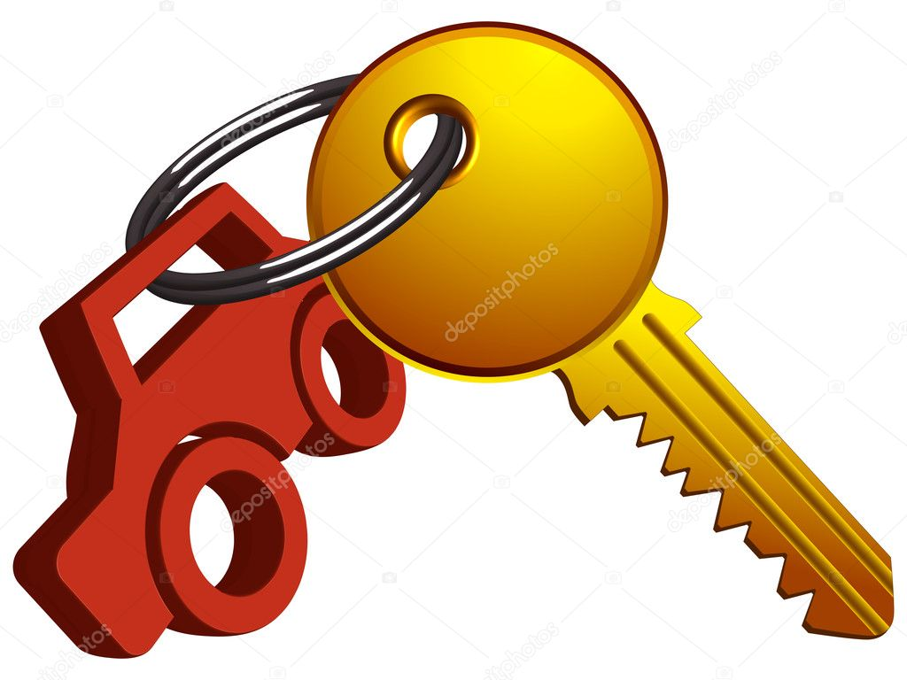 Car and key on the same ring against white background, abstract vector art illustration — Stock Vector #10954095