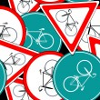 Bike traffic signs pattern — Stock Vector