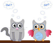 Little sweet owl and cat — 图库矢量图片