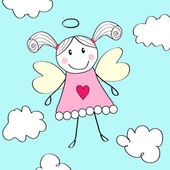 Little angel greeting card — Stock Vector