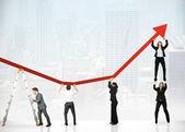 Trabalho em equipe e lucro corporativo — Foto Stock
