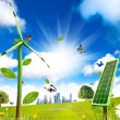 Wind turbine and solar cell grows - Stock Photo