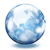 World map in a glass sphere — Stock Photo