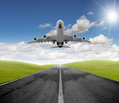 Airplane and departure — Stock Photo