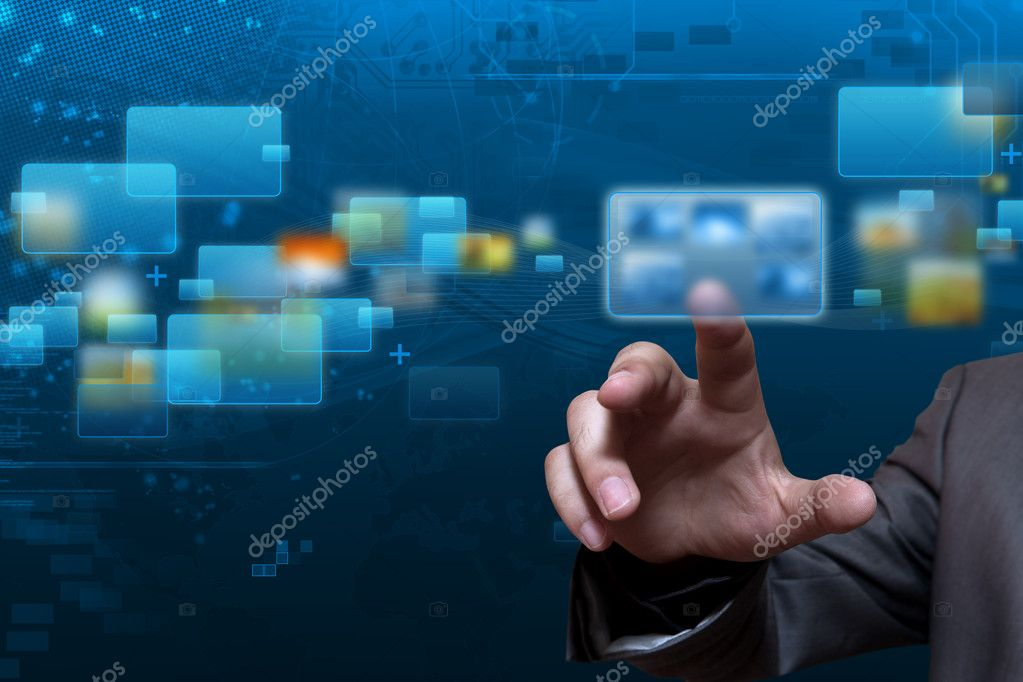 Futuristic touch screen display with streaming image — Stock Photo #11016036