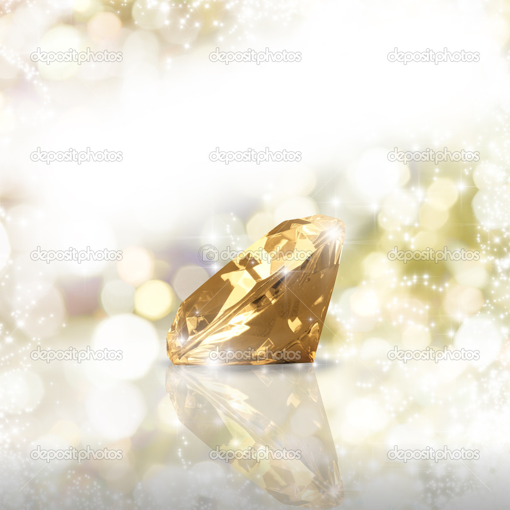 Diamond on a golden background  Stock Photo #11016307
