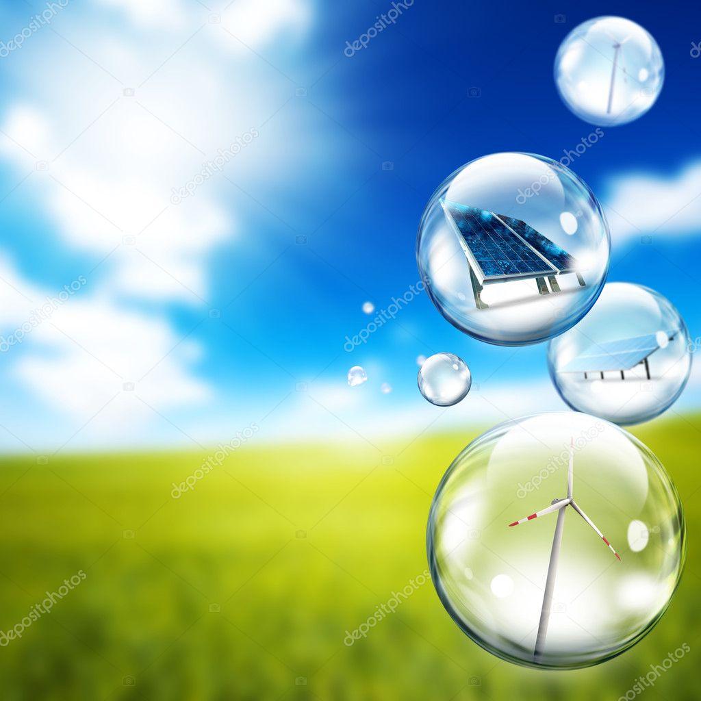 Bubble of Solar panel and wind turbine — Stock Photo © alphaspirit ...