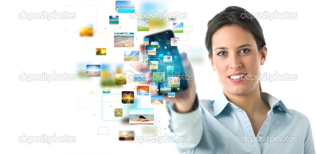 Business girl banner with streaming mobile phone  Stock Photo #11019743