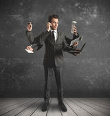 Multitasking businessman — Foto de Stock