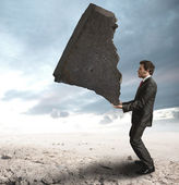 Businessman challenging the difficulties — Stock Photo