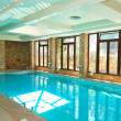 The swimming pool with jacuzzi in SPA at modern hotel, Halkidiki - Stock Photo
