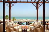Sea view terrace at luxury hotel, Fujairah, UAE — Stock Photo
