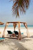 Hut on the beach of luxury hotel, Ajman, UAE — Stock Photo