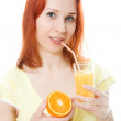 Slender girl with a glass of juice and orange — Stock Photo #11394955