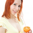 Slender girl with a glass of juice and orange — Stock Photo #11395074