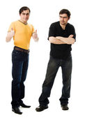 Two men with a happy and sad — Stock Photo