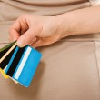 Woman with many different credit cards — Stock Photo #11463727