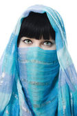 Close up picture of woman wearing a veil — Stock Photo