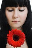 Pele do rosto jovem mulher bonita — Fotografia Stock