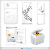 Set of refrigerators with labels and products — Stock Vector